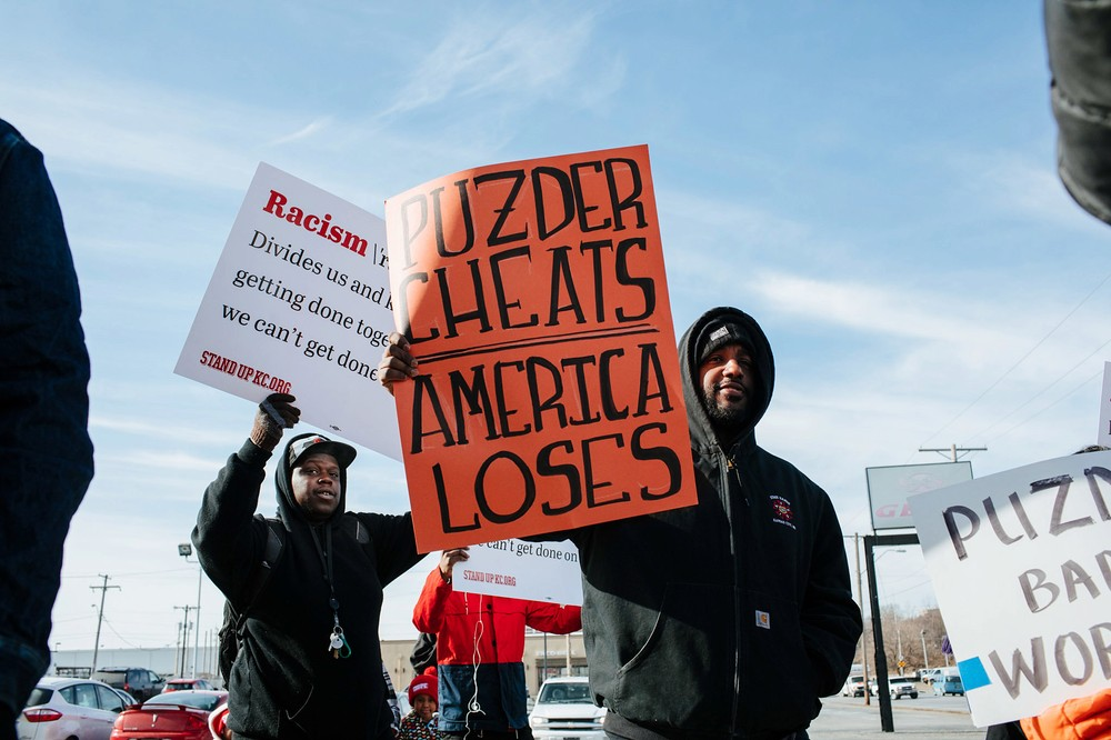 Andy Puzder Labor Secretary Protest March