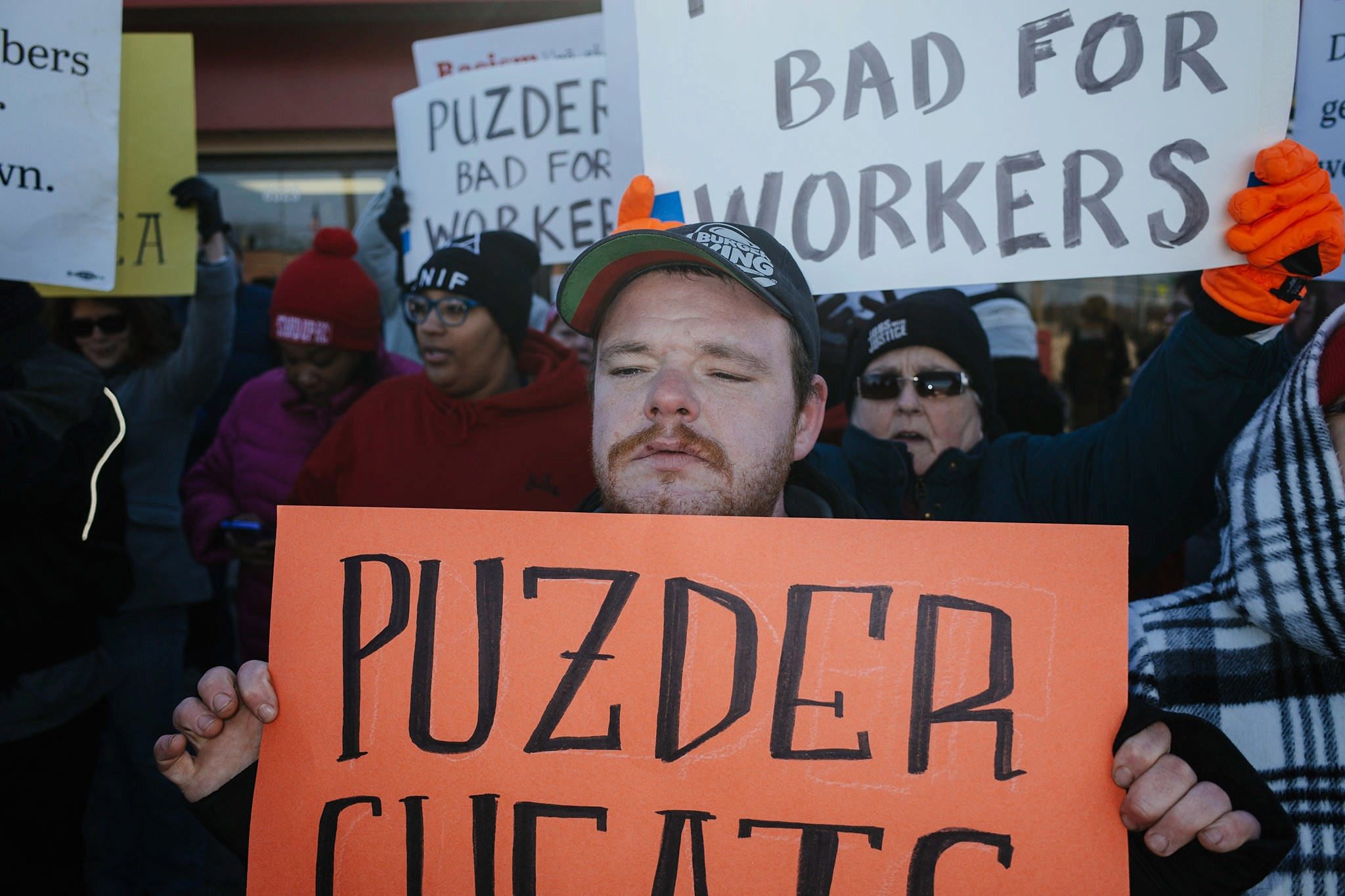 Andy Puzder Labor Secretary Protest March