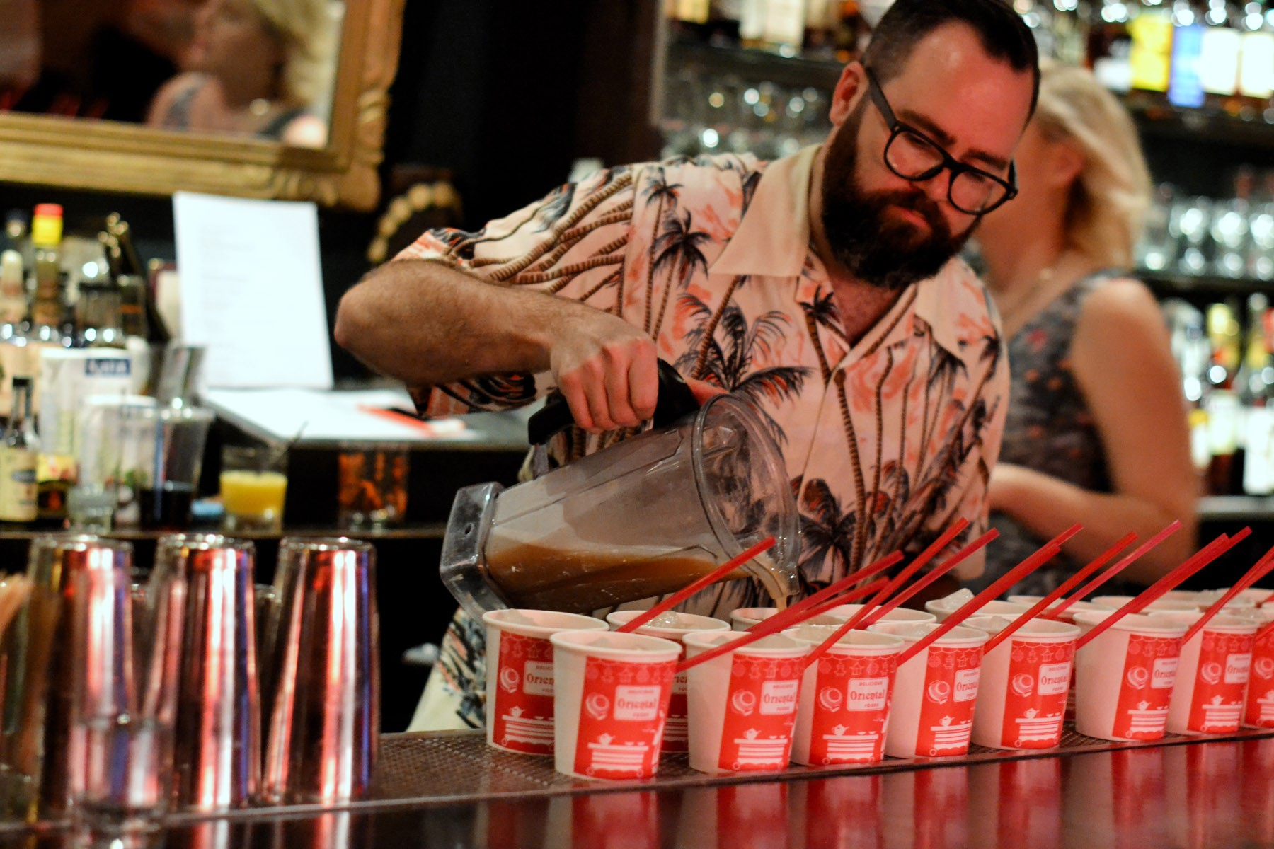 Beverage Director Nathan Hazard pours the China Girl into the cup of controversy.