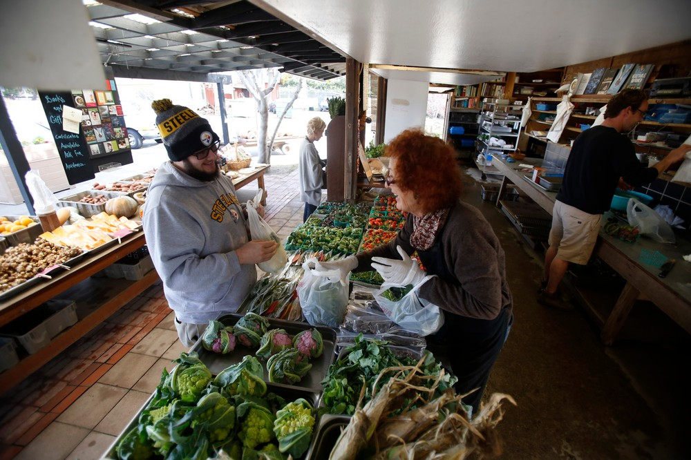 San Diego California, USA, December 13th 2016: | Chino Farms located in Rancho Santa. The farm is recognize and publicize for the high quality produce. Chef Tyler Wisherman being helped by Fran Prince. | (Alejandro Tamayo)