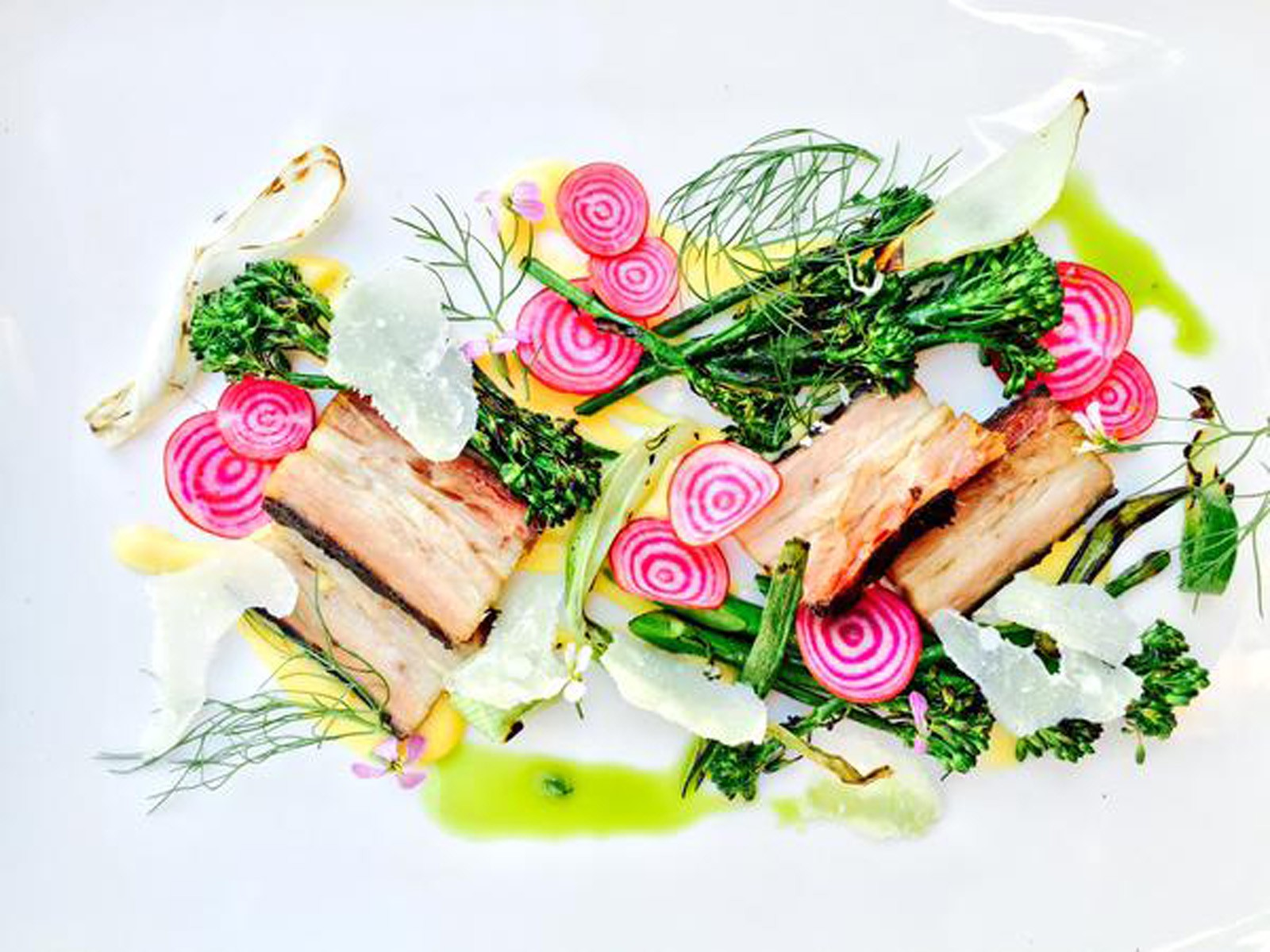 Daily Special Pork Belly with shaved beets and brocolini