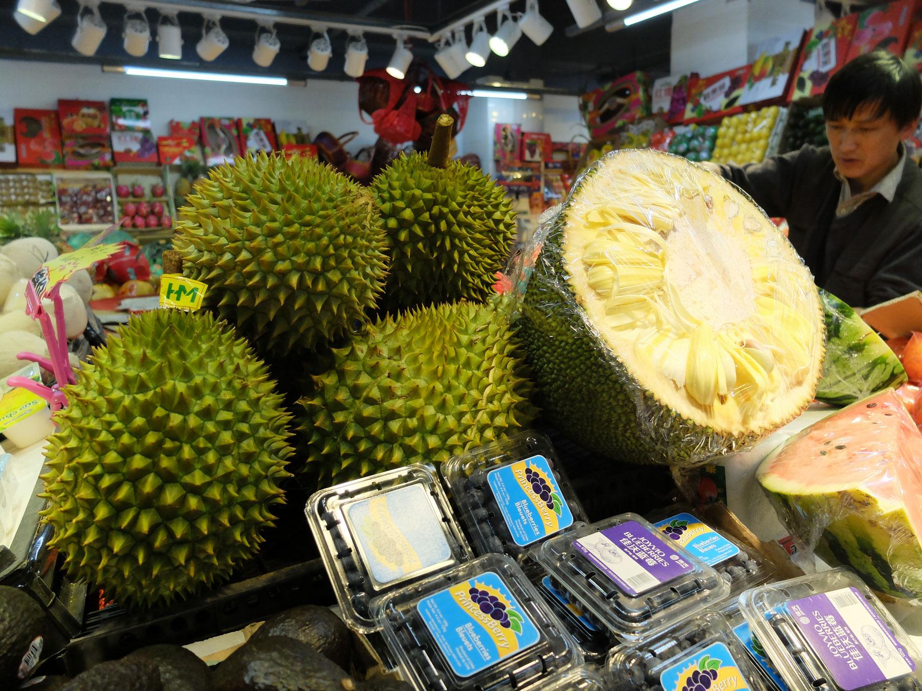 Durians-in-Beijing-market