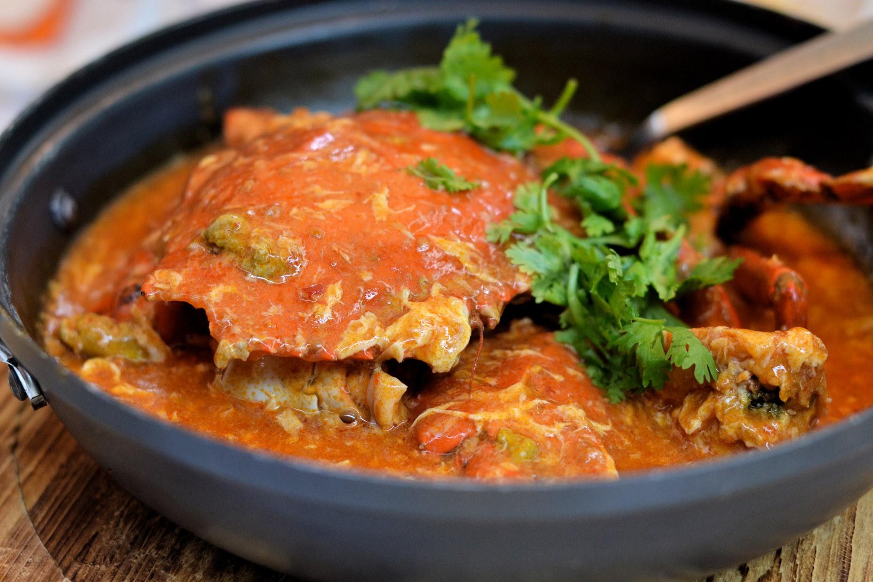 Eggy, saucy Singaporean Chili Crab