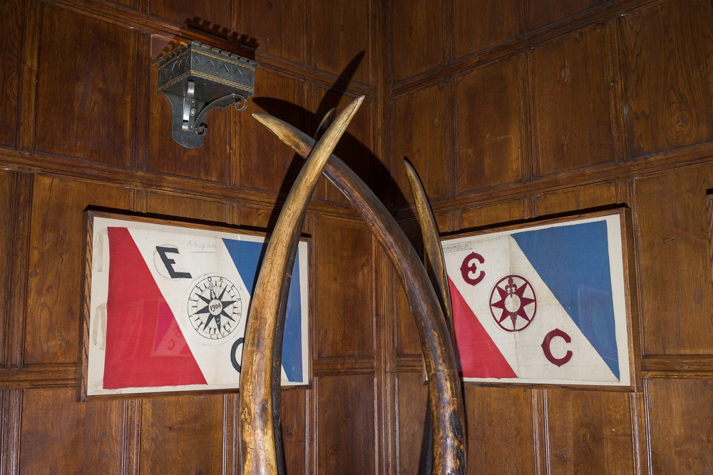 Explorers club flags and tusk