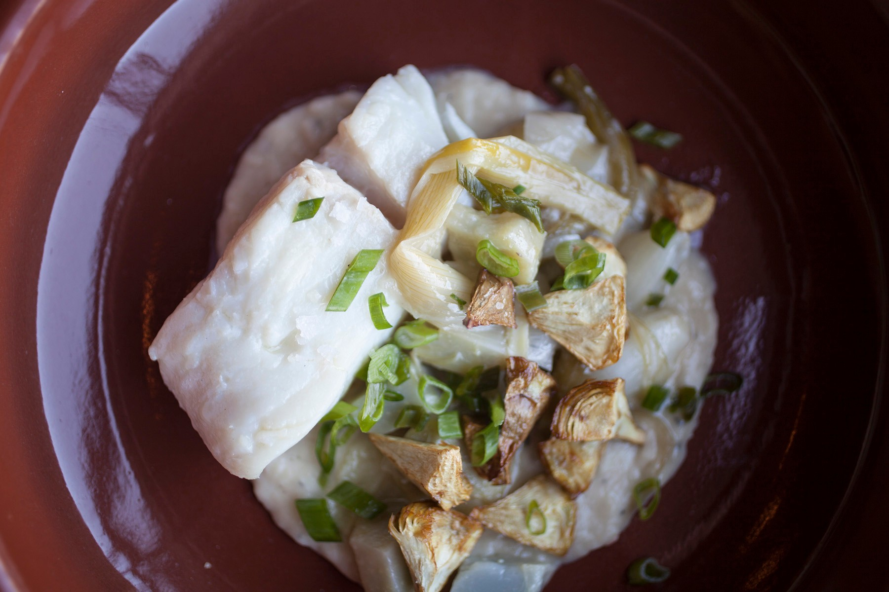 Poached halibut, fried artichokes, and artichoke puree