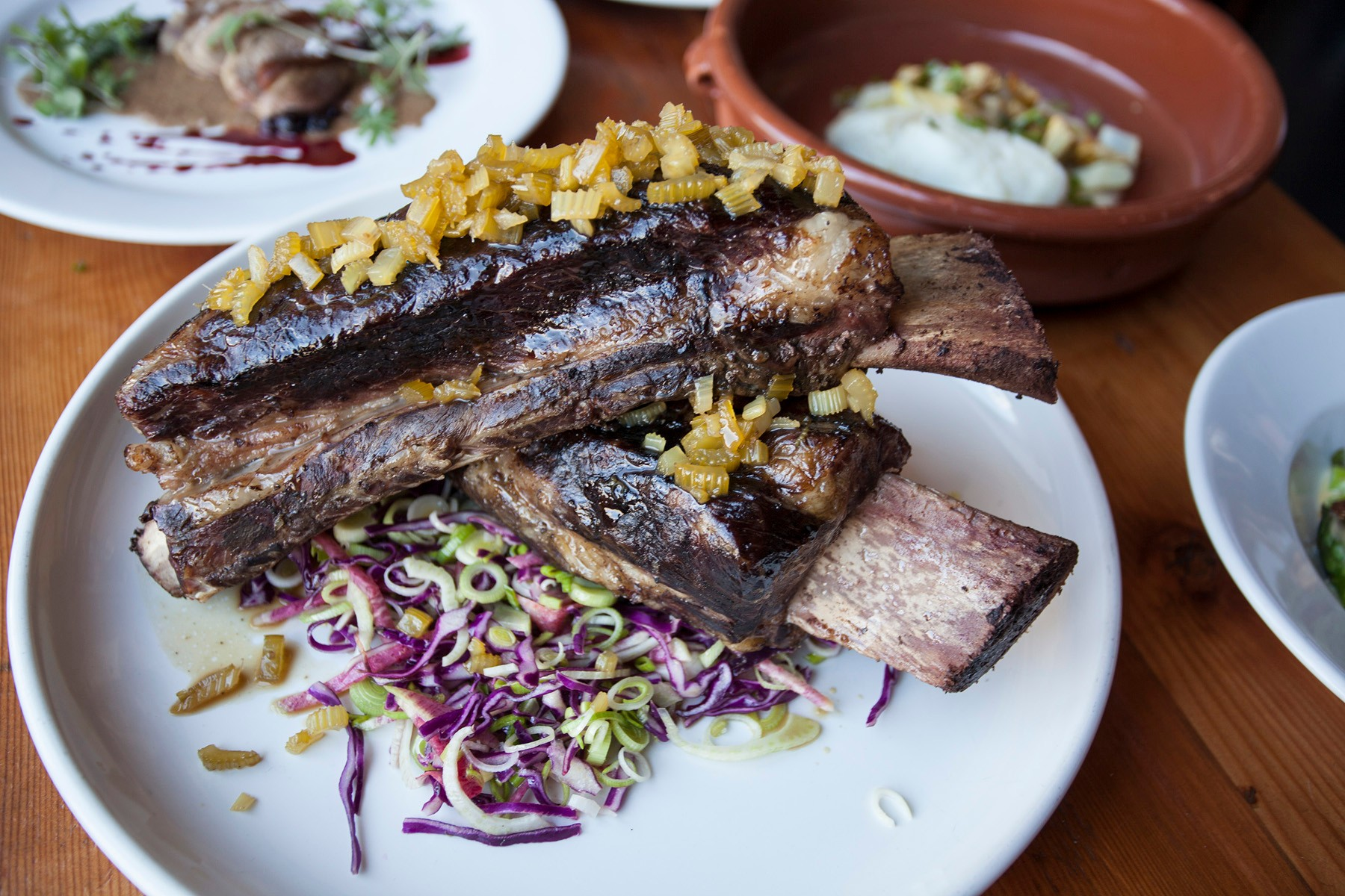 Beef rib with celery beer jam