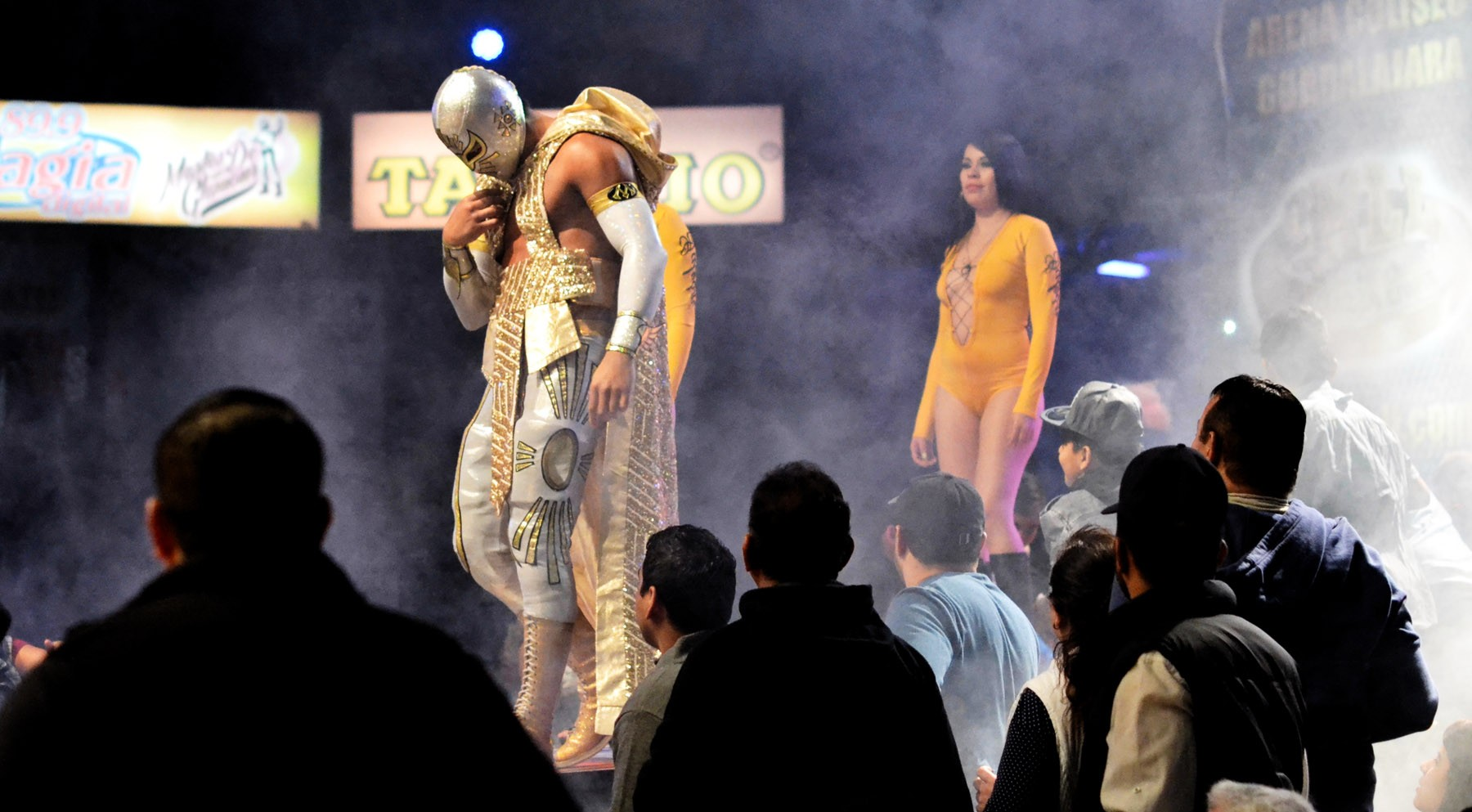Mistico aka Luis Ignacio Urive Alvirde enters the ring