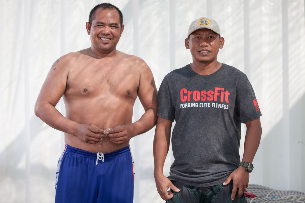 From the Philippines, Reno Castillo, 36, (left) and Loyd Curada, 39 (right), work at an oyster farm based in Dibba Al-Fujairah, the United Arab Emirates. Ramie Murray, 35, starts the country's first ever oyster farm, in Dibba Al-Fujairah.
