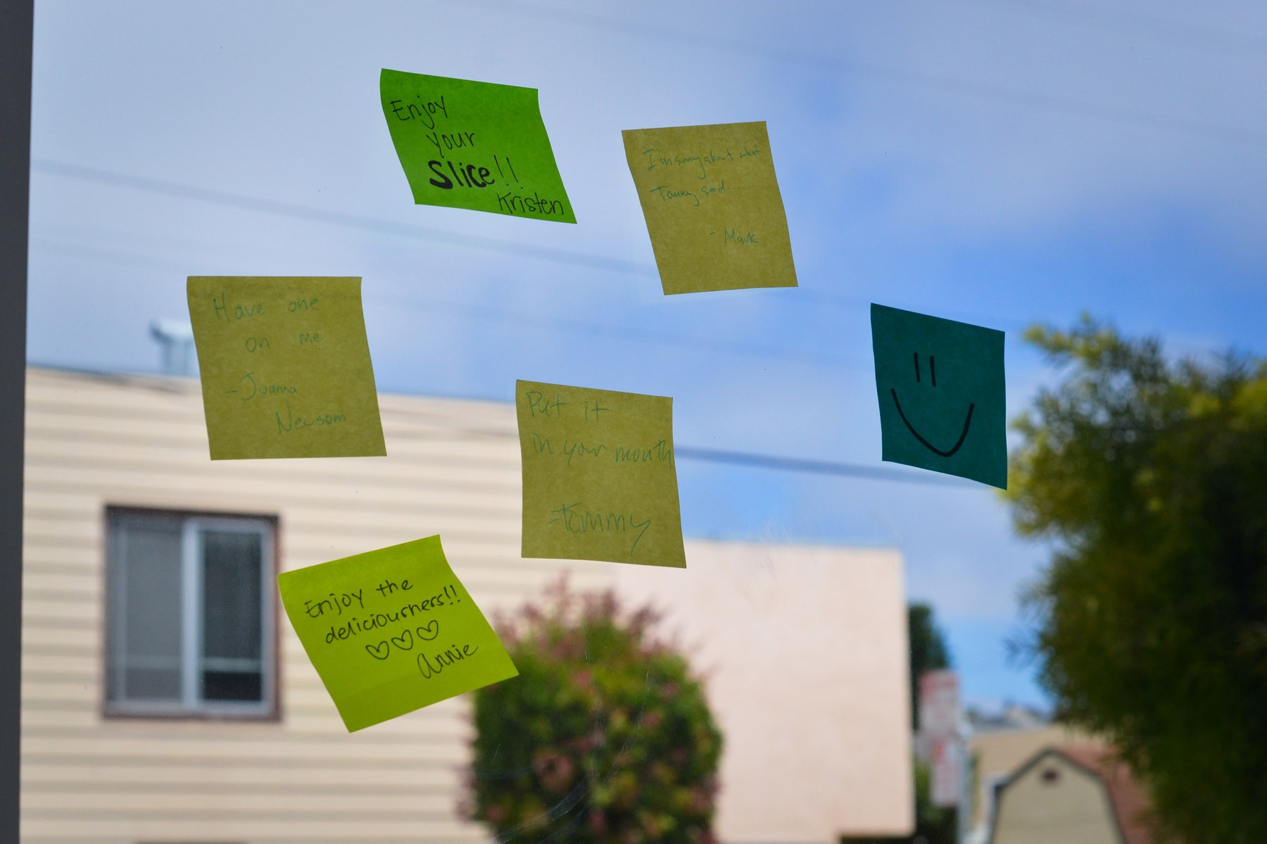 Post-its waiting to be redeemed by Bayview residents.
