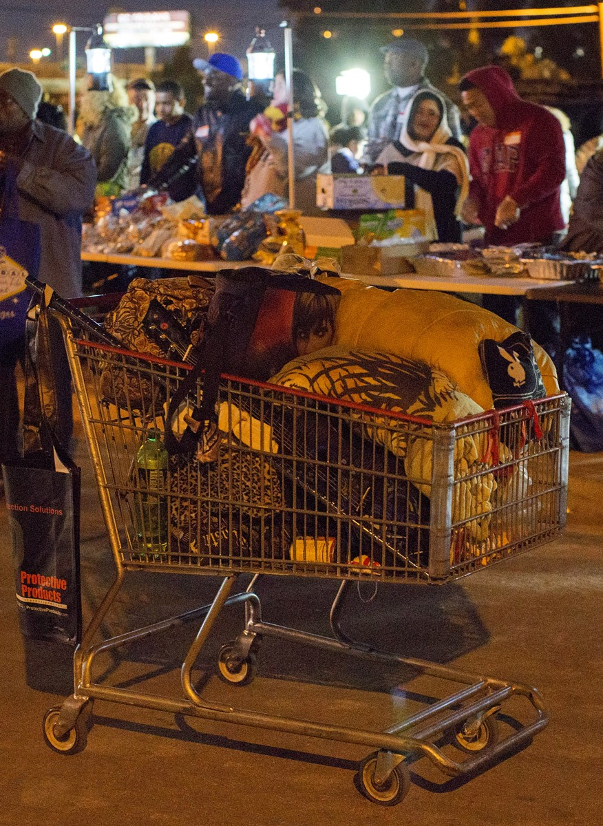 Shopping Cart in front of food line