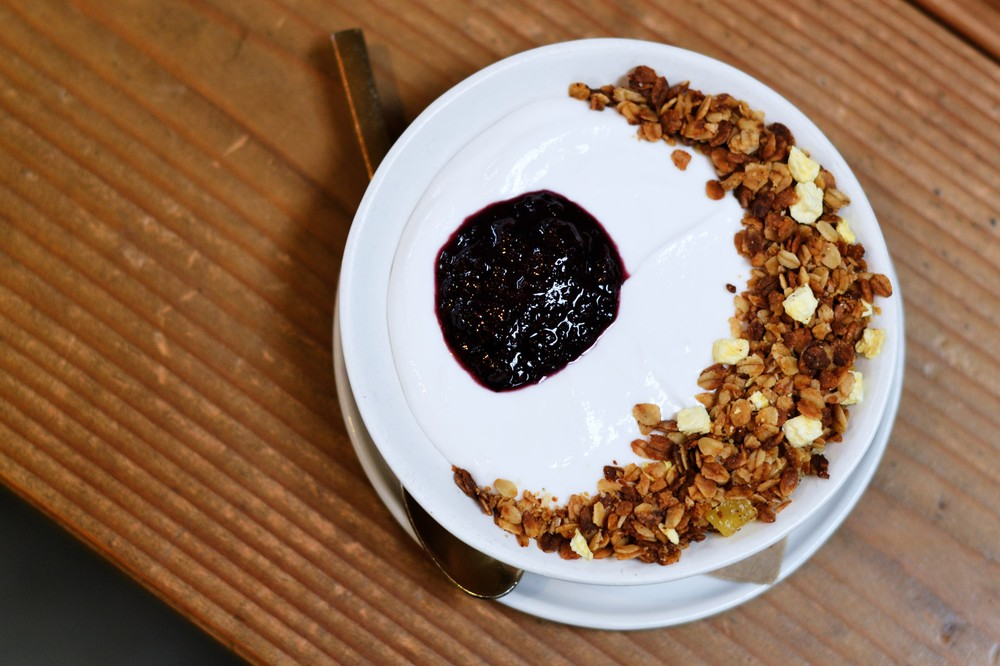 The Springs coconut yogurt with blueberry jam and seven-spice granola