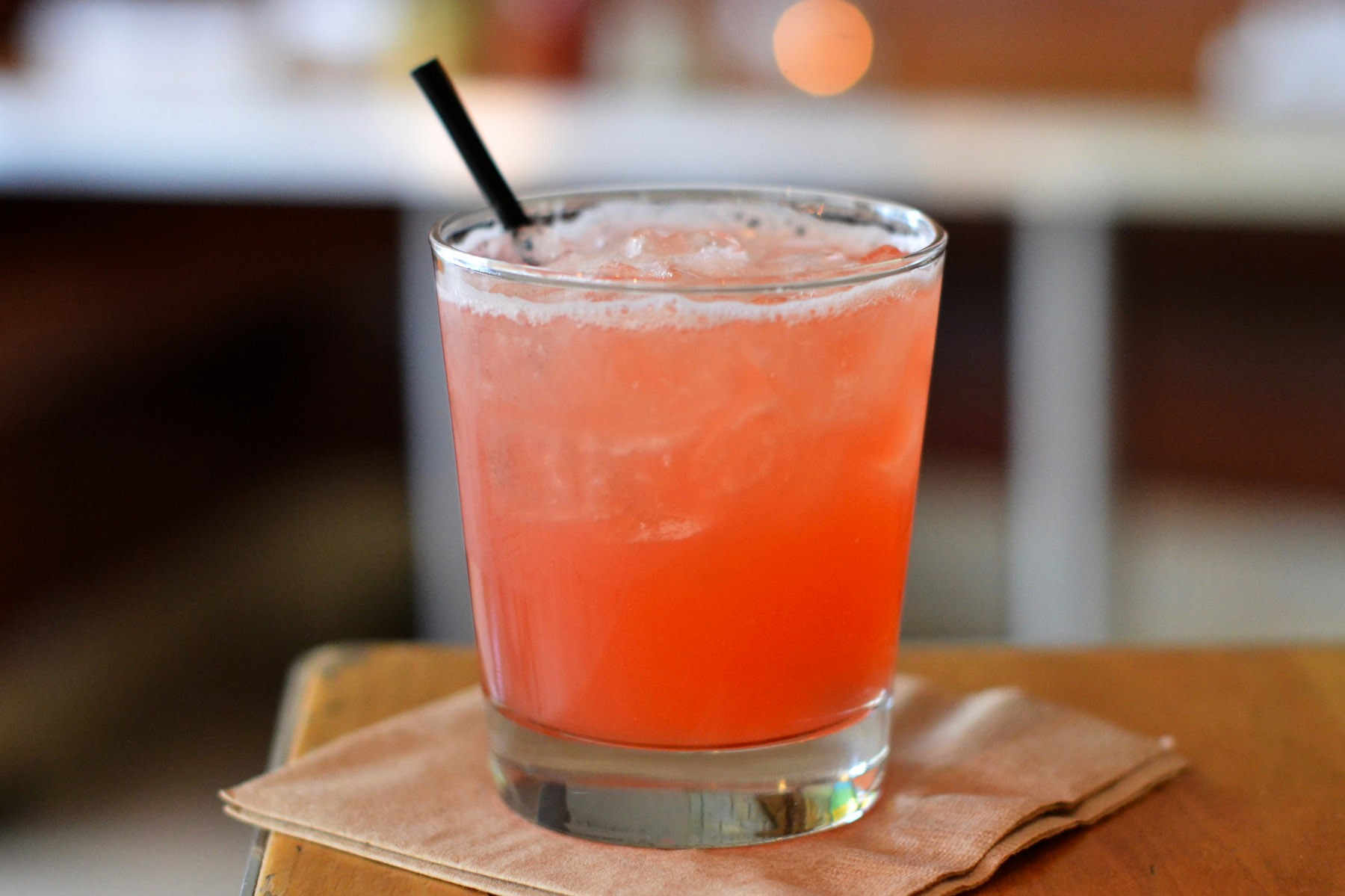 The Urban Sombrero with pineapple infused Campari, tequila, lime, and agave.