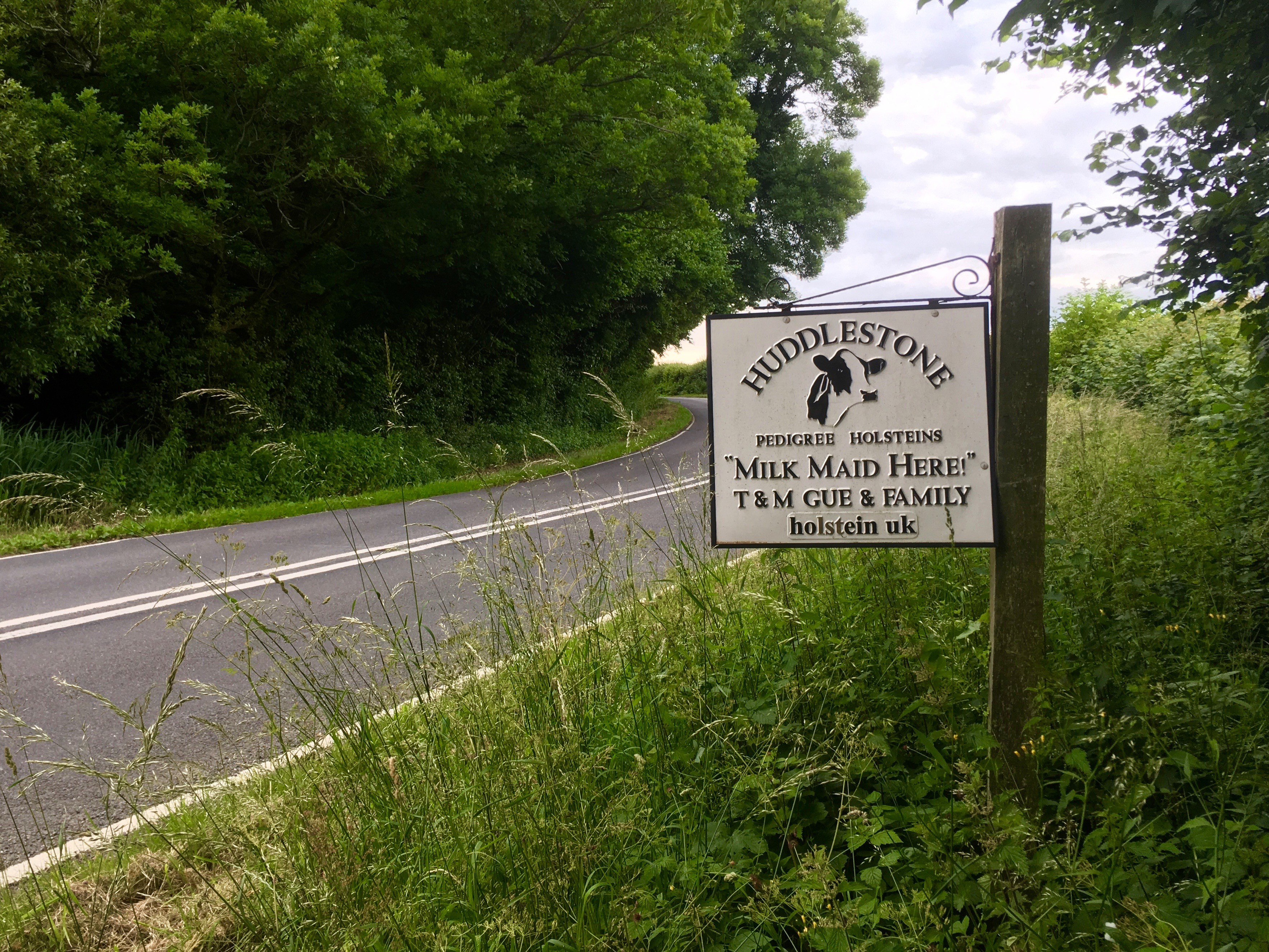 The herd sign outside Tim Gue's farm