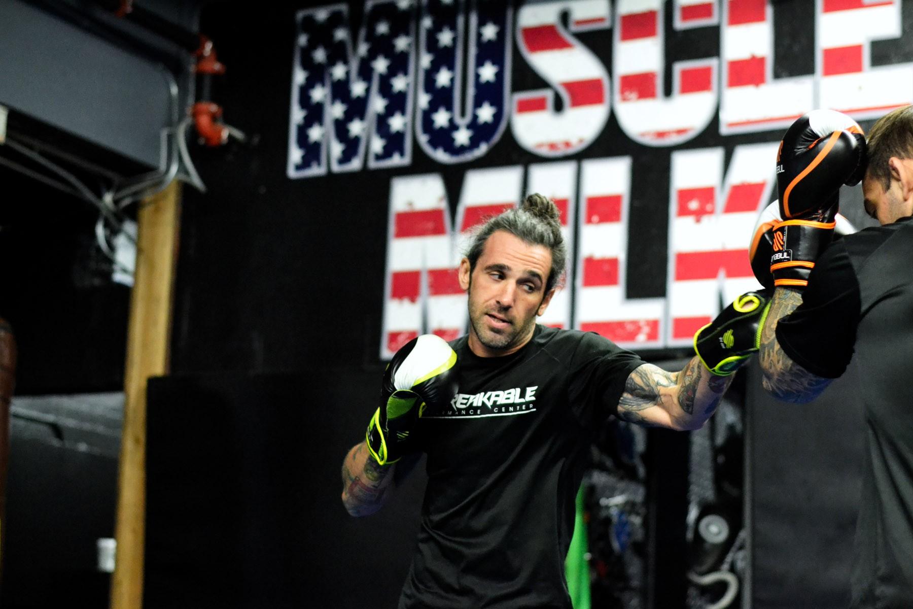 Trainer Jason Borba spars with Guilherme Bomba Vasconcelos