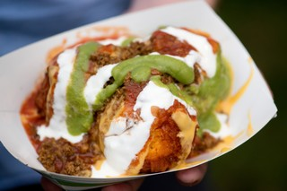 Deep fried nachos supreme from Texas Steak Out at the Minnesota State Fair.