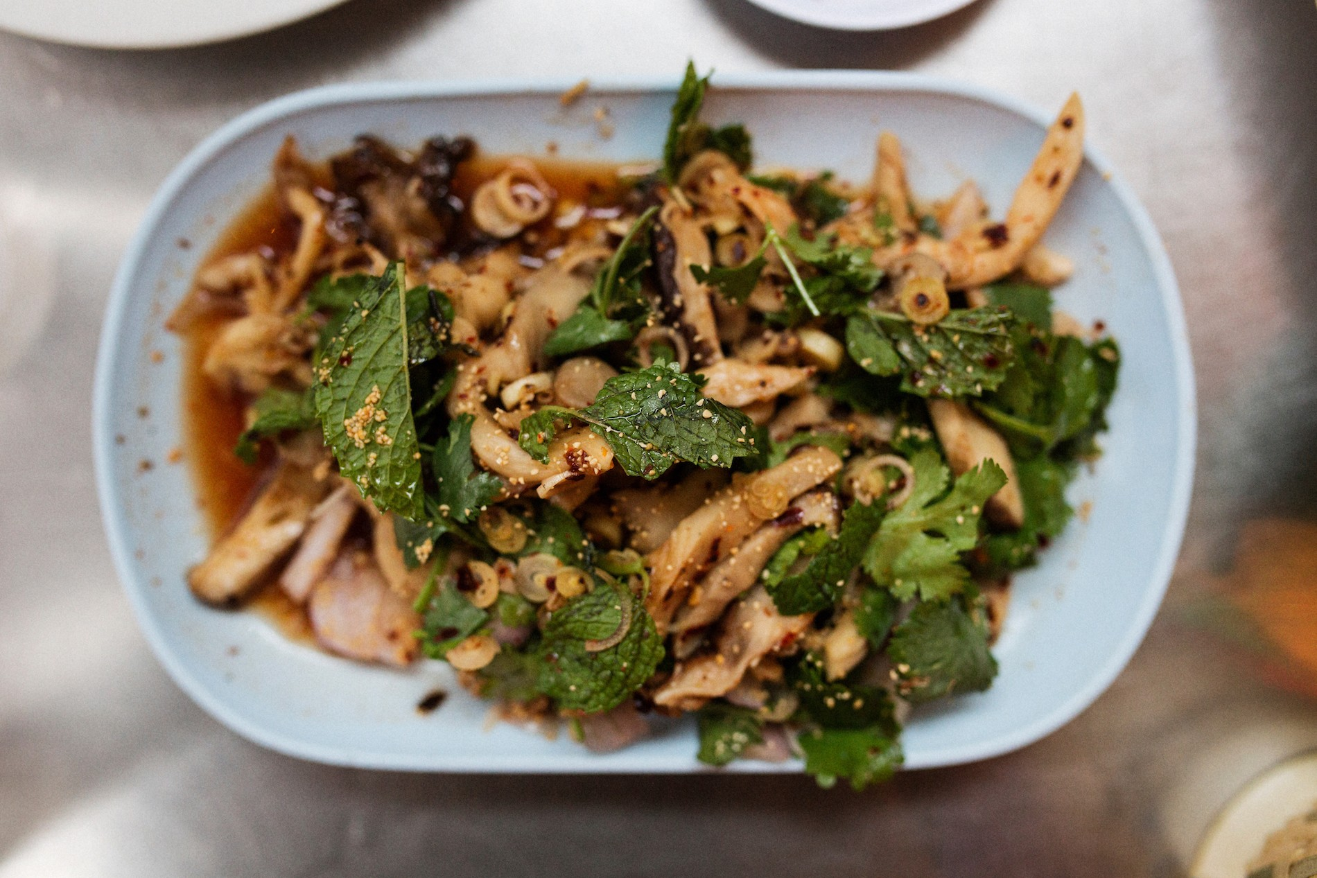 Het Paa Naam Tok Spicy forest mushroom salad with lime and chili powder dressing, shallots, lemongrass, mint, cilantro and toasted rice powder. Pok Pok PDX Mushrooms in Portland, Oregon. August 2016. Matt Lutton / Boreal Collective for Vice Munchies