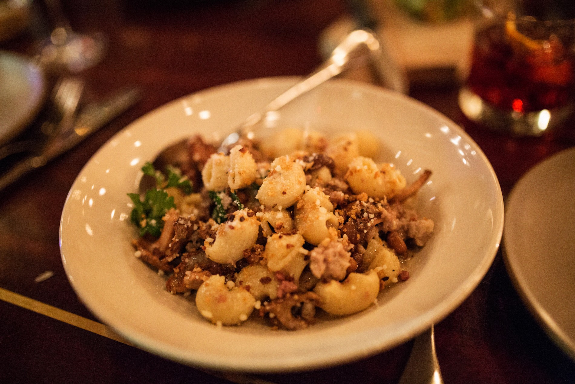 Dinner at Ava Gene's in Portland. A pasta dish made with our foraged chanterelles. Mushrooms in Portland, Oregon. August 2016. Matt Lutton / Boreal Collective for Vice Munchies