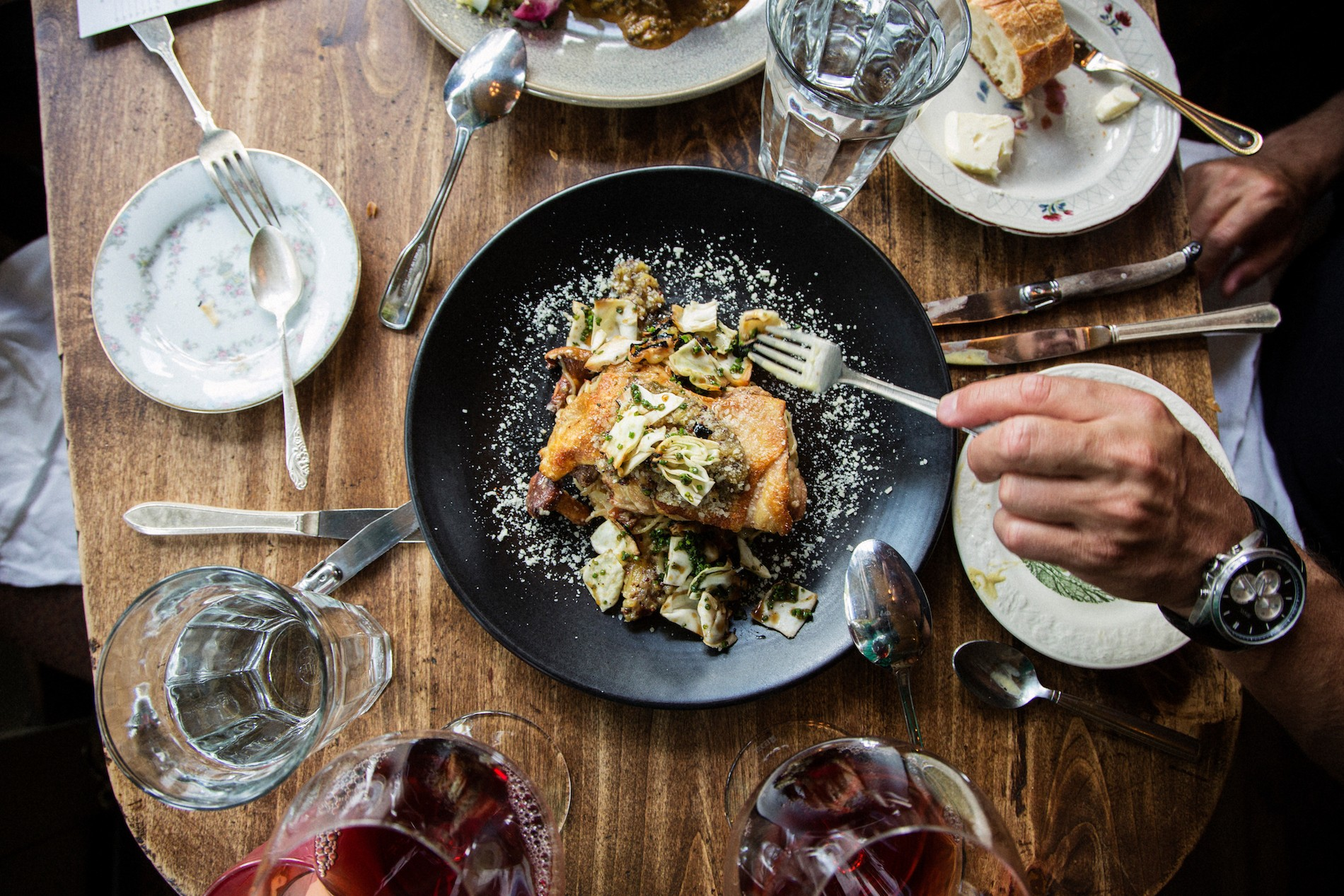 Sage Roasted Chicken* prosciutto & chanterelle noodles, truffle-pineapple relish, parmesan Le Pigeon restaurant. Mushrooms in Portland, Oregon. August 2016. Matt Lutton / Boreal Collective for Vice Munchies