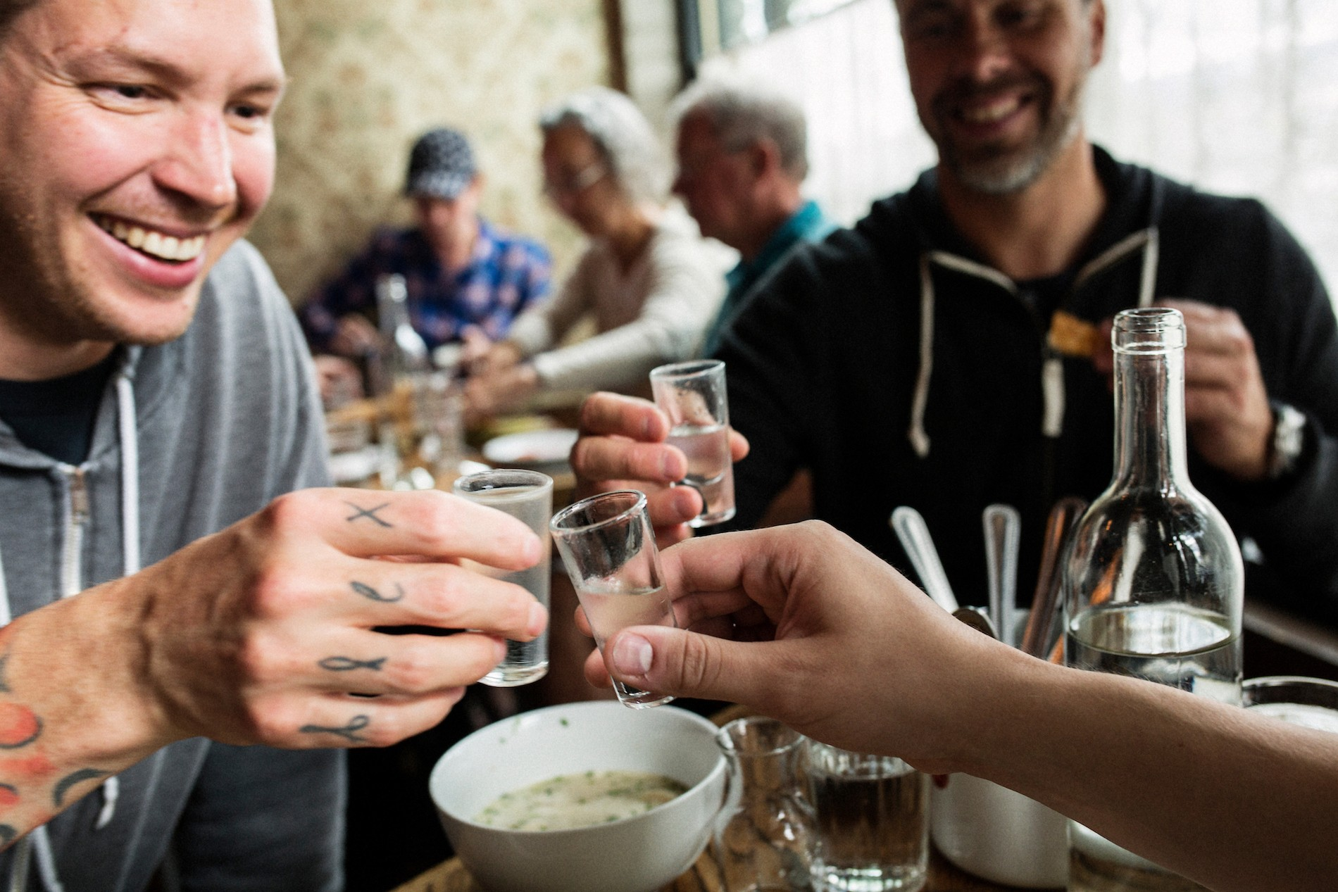 Toasting with house infused vodka at Kachka. Mushrooms in Portland, Oregon. August 2016. Matt Lutton / Boreal Collective for Vice Munchies