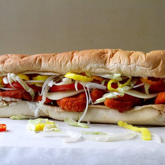 This Epic Sub Sandwich Is Stuffed With Spicy Chicken Tenders Munchies