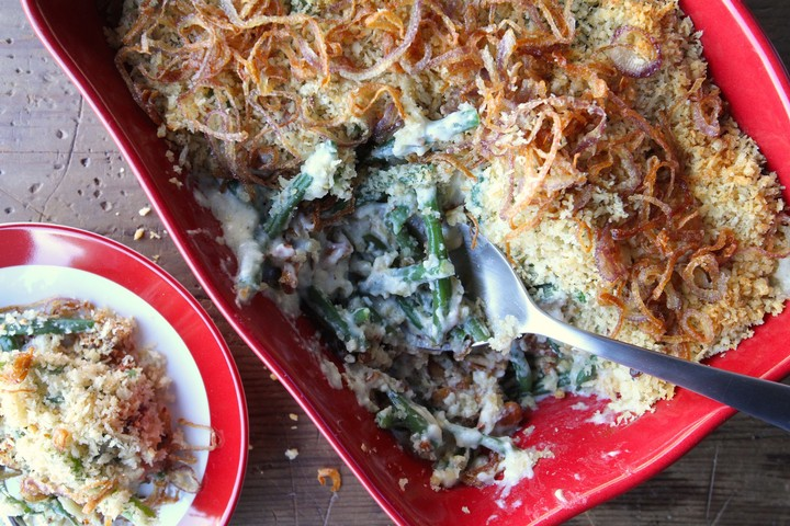 Green Bean Casserole with Smoked Gouda and Fried Shallots