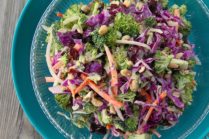Broccoli Slaw with Roasted Cashews and Cranberries Recipe