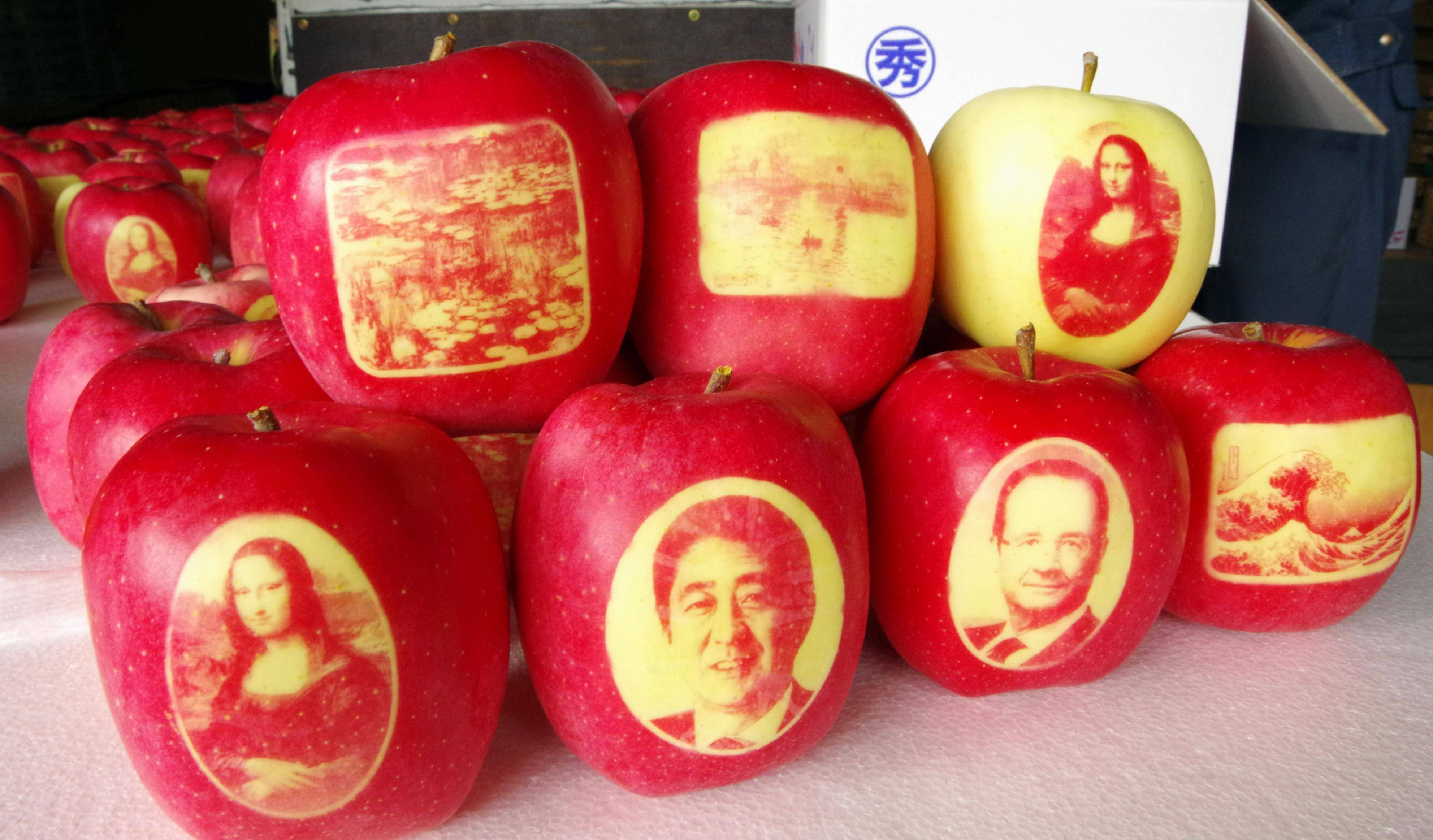 Decorated apples to be sent to French President Photo taken Oct. 27, 2016, in the northeastern Japan city of Hirosaki shows apples decorated with portraits of French President Francois Hollande (2nd from bottom R) and Japanese Prime Minister Shinzo Abe (2nd from bottom L). Some of the apples will be sent to Hollande. PUBLICATIONxINxGERxSUIxAUTxHUNxONLY decorated Apples to Be Sent to French President Photo Taken OCT 27 2016 in The Northeastern Japan City of Hirosaki Shows Apples decorated With Portraits of French President François Hollande 2nd from Bottom r and Japanese Prime Ministers Shinzo ABE 2nd from Bottom l Some of The Apples will Be Sent to Hollande PUBLICATIONxINxGERxSUIxAUTxHUNxONLY