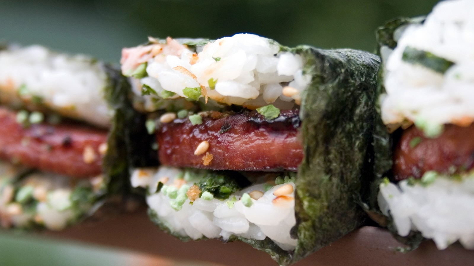 Image result for Spam and dried seaweed musubi