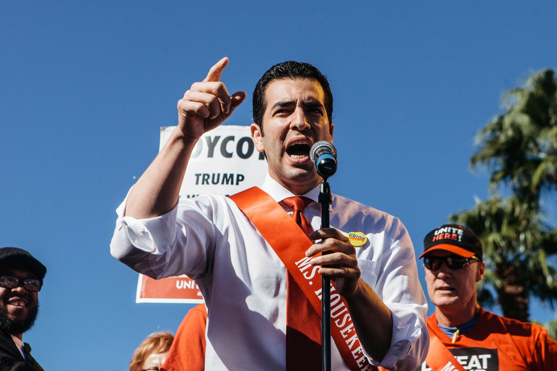 Nevada State Senator Ruben Kihuen speaks to protestors during a protest by the Culinary Union which built a