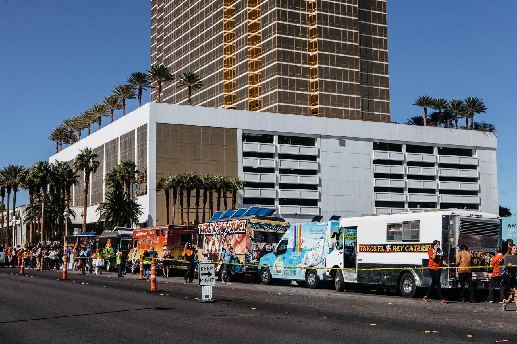Taco trucks line up outside of Trump Tower in Las Vegas to build a wall.