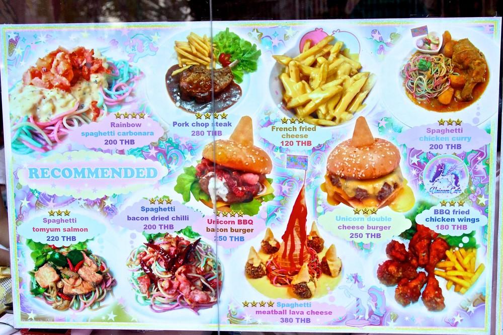 menu unicorn café thailande